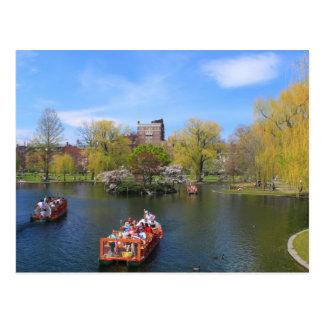 Boston Public Garden Swan Boats in Spring Postcard