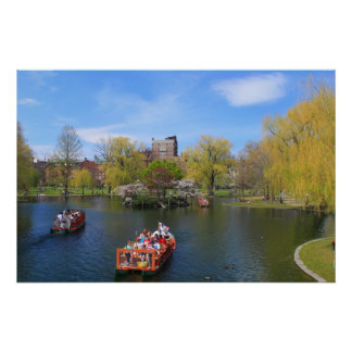 Boston Public Garden Swan Boats in Spring Poster