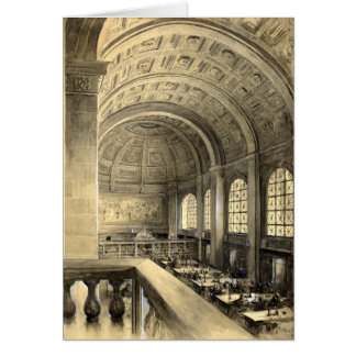 Boston Public Library Bates Hall 1896 Card