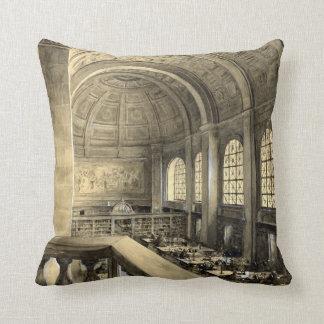 Boston Public Library Bates Hall 1896 Throw Pillows