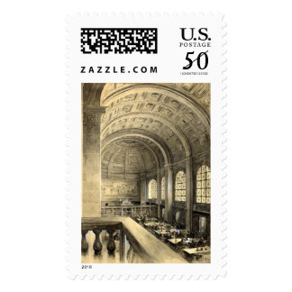 Boston Public Library Bates Hall 1896 Postage