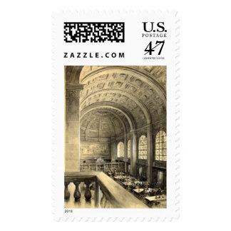 Boston Public Library Bates Hall 1896 Postage Stamp