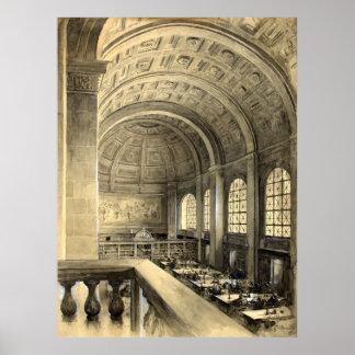 Boston Public Library Bates Hall 1896 Poster
