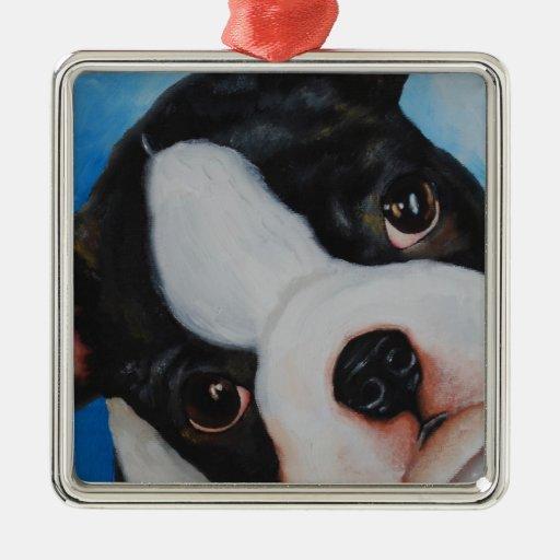 boston pup.jpg square metal christmas ornament