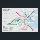 """Boston Rapid Transit Routes - No Bus Routes Poster<br><div class=""""desc"""">A completely original redesign of the Boston &quot;T&quot; rapid transit system. This version shows all stations on the Green Line (unlike the official map), but omits information on select key bus routes. This makes the map a lot cleaner as it focuses more on just the subway itself. Note that due...</div>"""