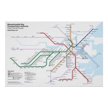 transitmaps Boston Rapid Transit Routes - No Bus Routes Poster
