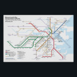 "Boston Rapid Transit - with Key Bus Routes Poster<br><div class=""desc"">A completely original redesign of Boston&#39;s &quot;T&quot; Rapid Transit Map. This version shows all the stations on the Green Line (unlike the official map) as well as select key bus routes. Note that due to fine detail and small type, this design will look best in larger print sizes: I recommend...</div>"