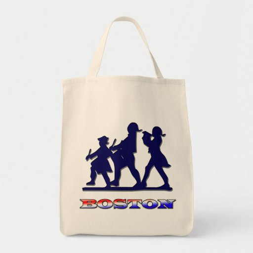 Boston Red White and Blue Grocery Tote Bag