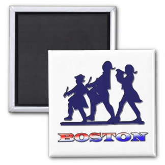 Boston Red White and Blue 2 Inch Square Magnet