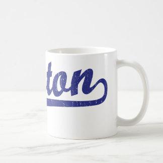 Boston script logo in blue coffee mug