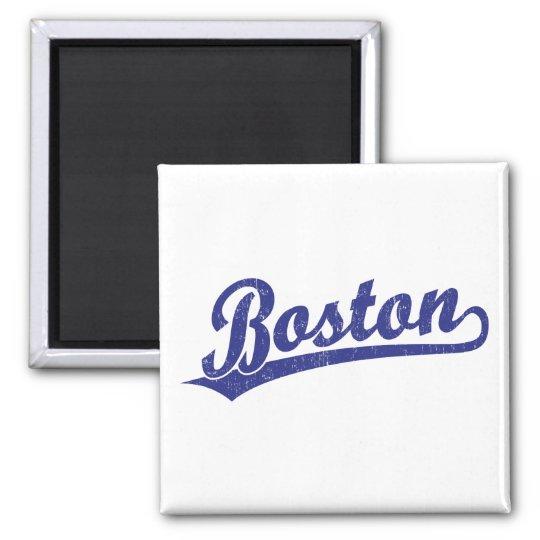 Boston script logo in blue magnet