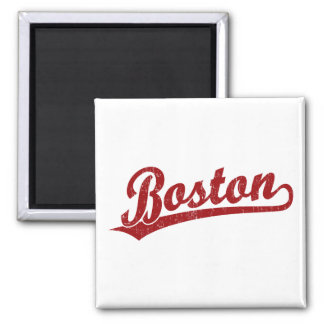 Boston script logo in red magnet