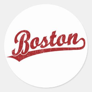 Boston script logo in red round stickers