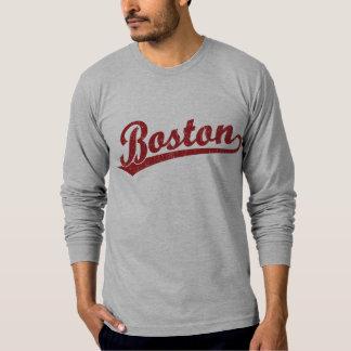 Boston script logo in red tee shirt