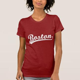 Boston script logo in white t-shirt