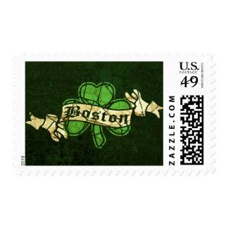 Boston Shamrock Vintage Style Postage Stamp