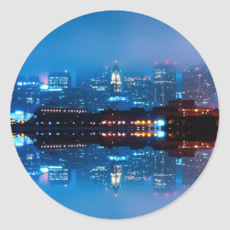 Boston skyline and fog classic round sticker