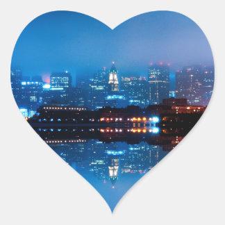 Boston skyline and fog heart sticker