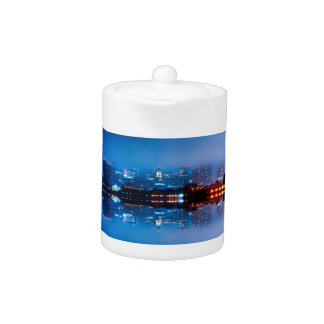 Boston skyline and fog teapot