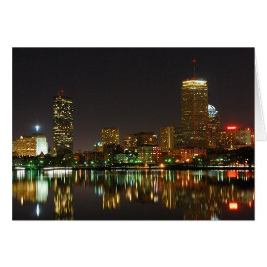 Boston Skyline at Night Card