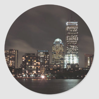 Boston Skyline at Night Classic Round Sticker