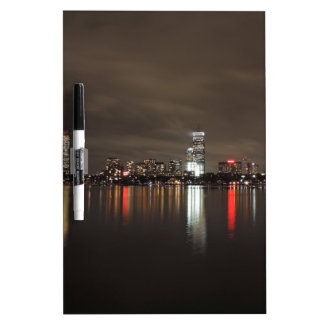 Boston Skyline at Night Dry Erase Board