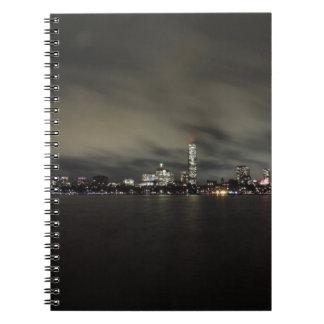 Boston Skyline at Night Notebook