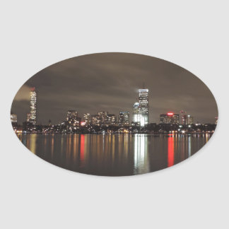 Boston Skyline at Night Oval Sticker