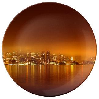 Boston Skyline at Night Porcelain Plates