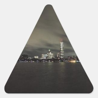 Boston Skyline at Night Triangle Sticker