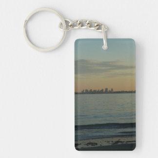 Boston Skyline at Sunset from Swampscott Keychain