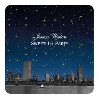 Boston Skyline Blue Starry Etched Sweet 16 Card