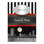 Boston Skyline BW Blk Wht Strp Red Sweet 16 Party 5x7 Paper Invitation Card