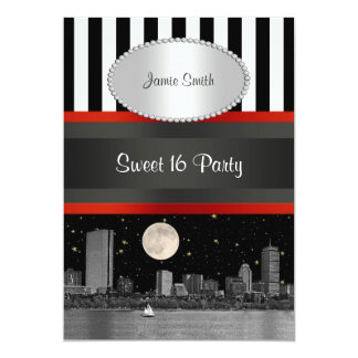 Boston Skyline BW Blk Wht Strp Red Sweet 16 Party Card