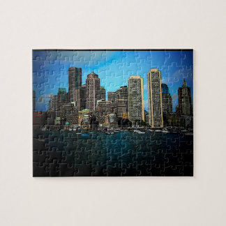Boston Skyline Cartoon Art Puzzle