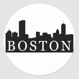 Boston Skyline Classic Round Sticker