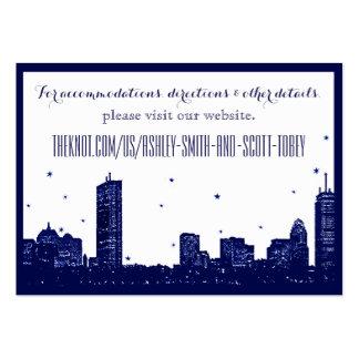 Boston Skyline Dark Blue on white Insert Card Large Business Card