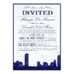 "Boston Skyline Dark Blue on white Invitation 5"" X 7"" Invitation Card"