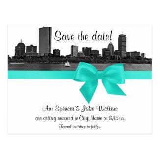 Boston Skyline Etched BW Aqua Save the Date Postcard