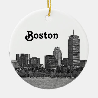 Boston Skyline Etched Ceramic Ornament