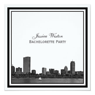 Boston Skyline Etched Framed Bachelorette Card