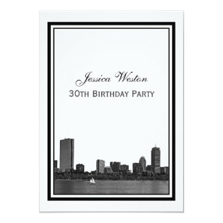 Boston Skyline Etched Framed Birthday Party Card