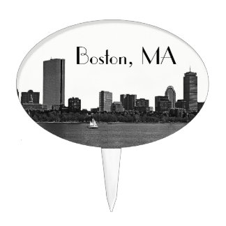 Boston Skyline Etched Framed Cake Pick