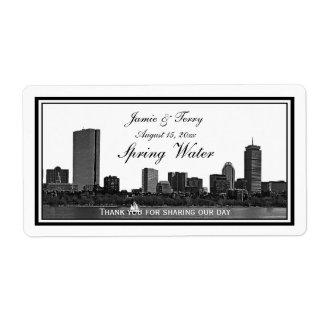 Boston Skyline Etched Framed H #2 Water Bottle Label