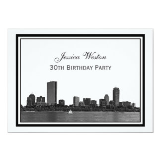 Boston Skyline Etched Framed H Birthday Party Card