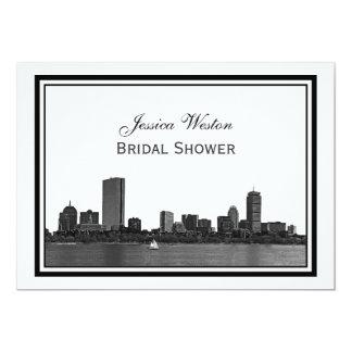 Boston Skyline Etched Framed H Bridal Shower Card