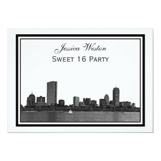 Boston Skyline Etched Framed H Sweet 16 Card