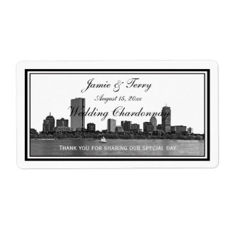 Boston Skyline Etched Framed H Wine Label