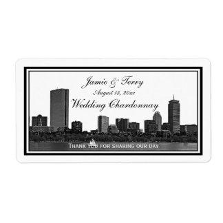 Boston Skyline Etched Framed H Wine Label #2
