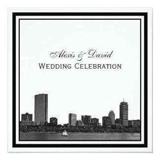 Boston Skyline Etched Framed L Wedding Card